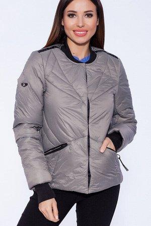 Куртка Состав: Полиэстер 63%, Нейлон 37%.  Цвет: Серый.   Подробнее: Стильная утеплённая куртка в спортивном стиле с трикотажным воротом и манжетами. Застежка на потайных кнопках украшена оригинальной