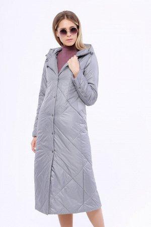 Пальто Состав: Полиэстер 100%.  Цвет: Серый.   Подробнее: Утепленное длинное стёганое пальто на раннюю весну. Застежка на кнопки. Прорезные карманы на молнии. Капюшон не отстегивается.