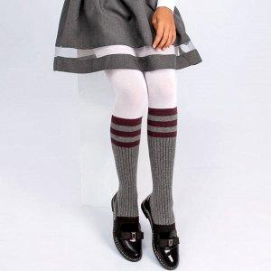 Колготки Соль&Перец для девочки  серый-бордовый