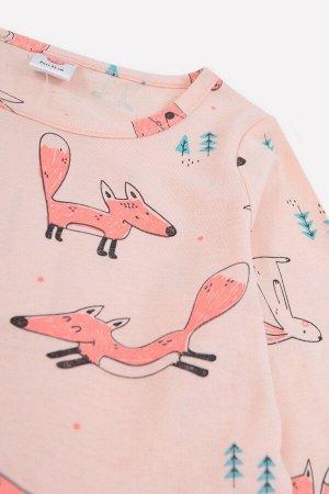 Платье Цвет: нежный персик, лисы; Вид изделия: Трикотажные изделия; Полотно: Супрем; Рисунок: нежный персик, лисы; Сезон: Осень-Зима Платье из хлопкового трикотажа супрем с набивным рисунком. Длинные