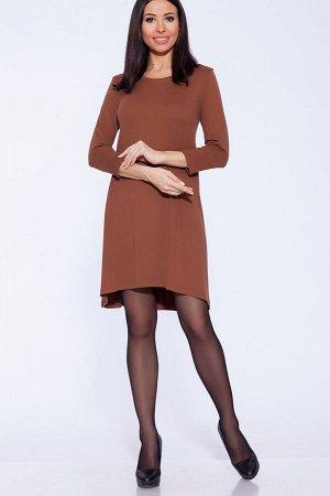 """Платье Платье силуэта """"трапеция"""", рукав 7/8.  Длина изделия по спинке для 50 размера 95 см, длина рукава 49 см.  Тип ткани: Ангора Состав:Полиэстер 60%, Вискоза 35%, Лайкра 5% Цвет:Коричневый Страна"""