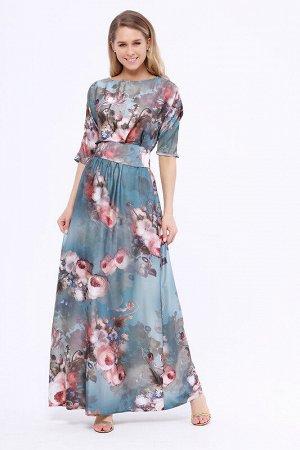 Платье Ткань: Шелк;  Состав: Хлопок 35%, Вискоза 35%, Полиэстер 25%, Лайкра 5%;  Сезон: Весна, Лето;  Цвет: Индиго/цветы;