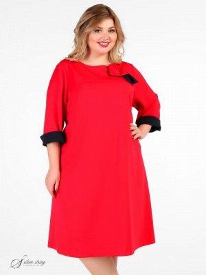 Платье Яркое Демисезонное платье. Выполнено из смесого материала с высоким содержанием эластана. В модели применяется отделочная ткань контрастног цвета.Изюминкой этой модели является оригинальный бан