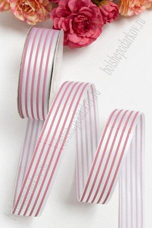 Лента атласная 2,5 см в розовую полоску (белый)