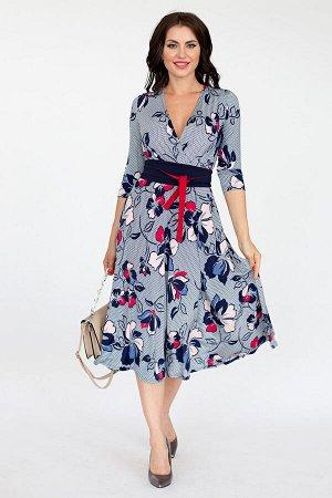 """Платье с запахом """"Бри"""" + двухсторонний поясок (цветы) П1581-1"""