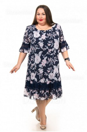Пёстрое платье 55760-5 большого размера с укороченными рукавами