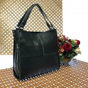 Вместительная сумка Inter_Suare формата А4 из натуральной кожи цвета зелёного опала.