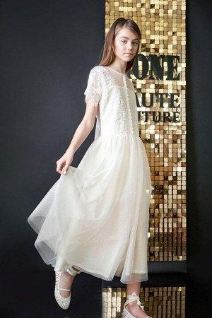 Платье сетка с напылением, кружева