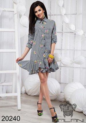 Платье рубашка с воланами - 20240