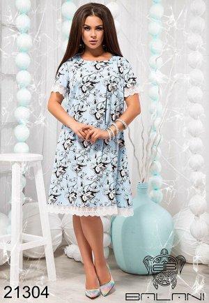 Свободное принтованное платье с кружевом - 21304