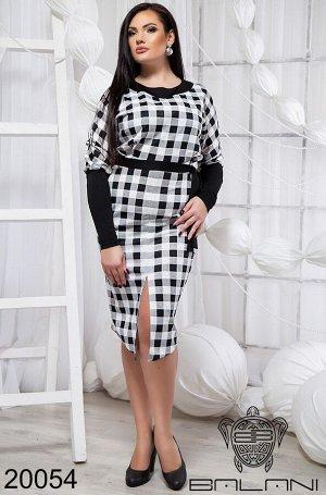 Стильное платье с поясом - 20054