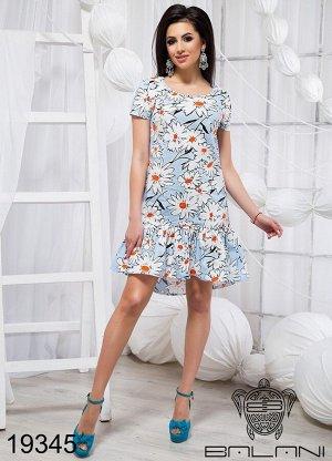 Короткое принтованое платье - 19345