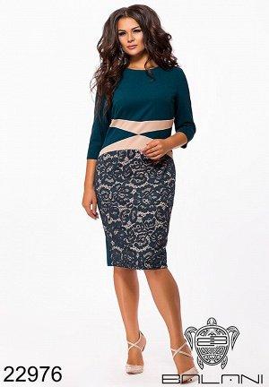 Платье с гипюром до колена - 22976