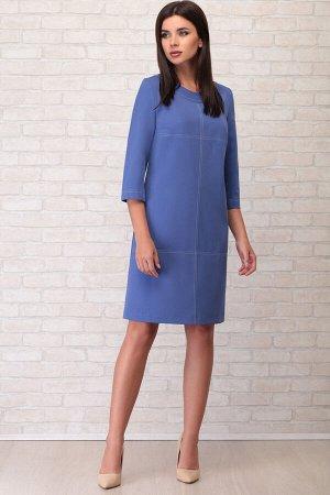 Платье Платье LIMO 10019 синий  Состав ткани: ПЭ-100%;  Рост: 170 см.  Платье женское василькового цвета, А-образного силуэта; без подкладки, с плечевыми накладками. Перед прямой с нагрудными вытачка