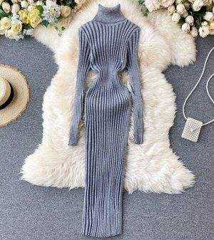 Платье-водолазка,серый