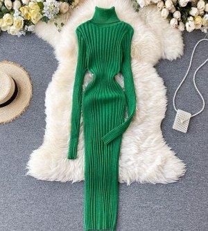 Платье-водолазка,зеленый