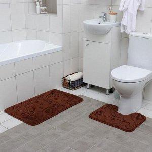 Набор ковриков для ванны и туалета Доляна «Дельфины», 2 шт: 40?50, 50?80 см, цвет МИКС