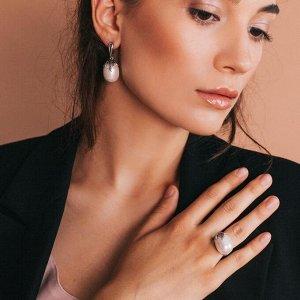 """Гарнитур родирование 2 предмета: серьги, кольцо ягодка """"Майорка"""", цвет белый, 18 размер"""