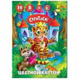 Набор цветного картона А4 16л 8цв КЦ16Л8ЦКР Creativiki {Россия}