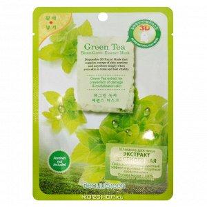 "BEAUUGREEN NEW 3D Green Tea Essence Mask Маска-салфетка д/лица ""Зеленый чай"""