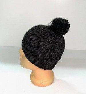 Шапка Топовая черная шапка с помпоном  №1673