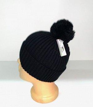 Шапка Черная крутая шапка с помпоном  №1671