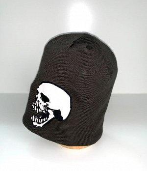 """Шапка Темно-коричневая шапка с принтом """"Череп""""  №4080"""