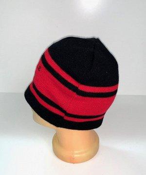Шапка Черная шапка с красными полосами  №4083
