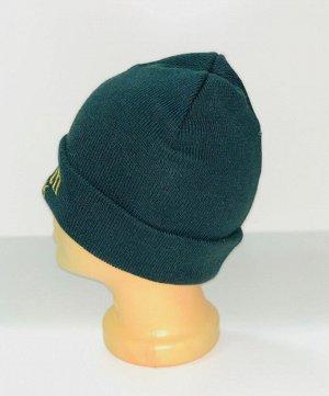 Шапка Темно-зеленая шапка с желтой вышивкой  №4182
