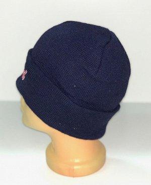 Шапка Темно-синяя шапка с вышивкой  №4181