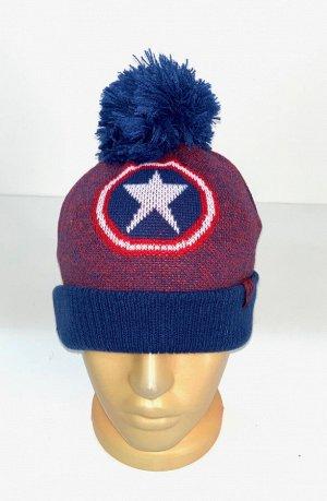 Сине-красная шапка с помпоном и звездой  №4357