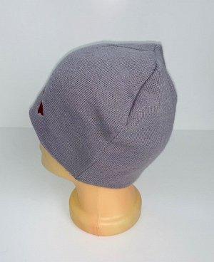Шапка Серая шапка с красной вышивкой  №4095