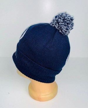 Шапка Темно-синяя стильная шапка с помпоном  №4057
