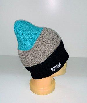 Шапка Брендовая трехцветная шапка  №1675