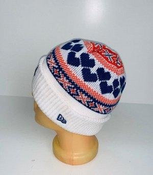 Шапка Белая шапка с узором и вышивкой  №4061