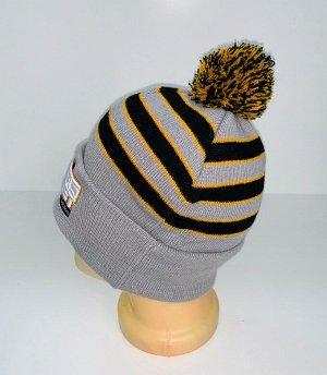 Шапка Полосатая шапка с помпоном  №4101