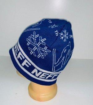 Шапка Синяя шапка с белым узором  №4066