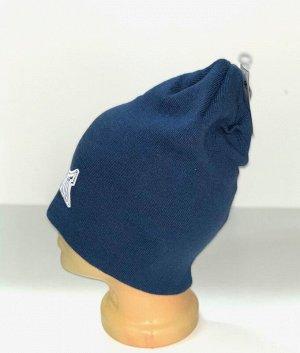 Шапка Синяя шапка с белой вышивкой  №4171