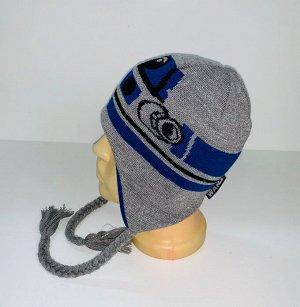 Шапка Серо-синяя шапка с косами  №4070