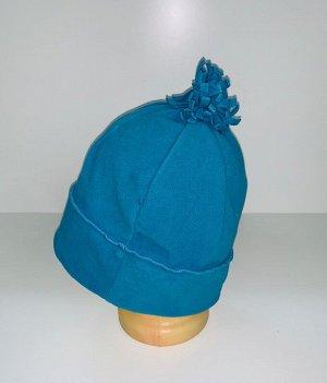 Шапка Голубая шапка с помпоном  №4074