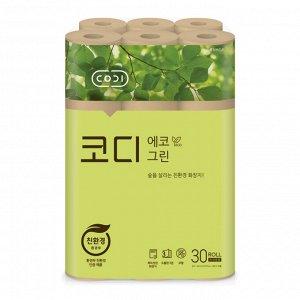 """Особомягкая неотбеленная туалетная бумага """"CODI-ECO Green"""" (трехслойная, с тиснёным рисунком)"""