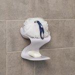 Держатель для ванных принадлежностей на липучке «Волна», 12?11?14 см, цвет МИКС