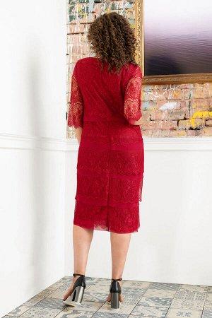Платье Платье Avanti Erika 870-2  Состав: Вискоза-72%; ПЭ-25%; Спандекс-3%; Сезон: Осень-Зима Рост: 164  Вечернее платье с тонким изящным кружевом. Изделие на подкладе. Рукав втачной, длина 3/4.Длина