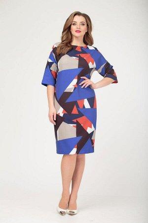 Платье Платье Anastasia 471  Состав ткани: Вискоза-15%; ПЭ-77%; ПУ-8%;  Рост: 164 см.  Платье женское из текстильной ткани: геомертический рисунок. Платье прямого силуэта длиной за колено. Перед цель