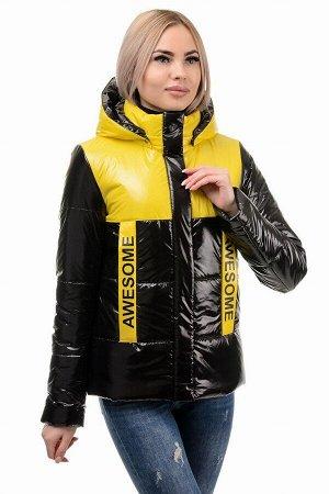 Демисезонная куртка «Хелен», 42-48, арт.288 черно-желтый