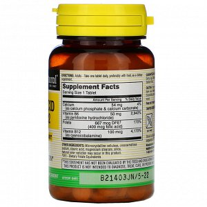 Mason Natural, Фолиевая кислота, B6 и B12, 90 таблеток