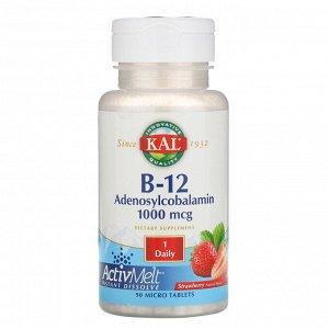 KAL, Аденозилкобаламин B12, клубника, 1000 мкг, 90 микротаблеток