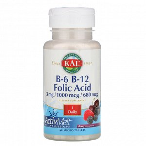 KAL, B-6, B-12, фолиевая кислота, ягода, 60 микротаблеток
