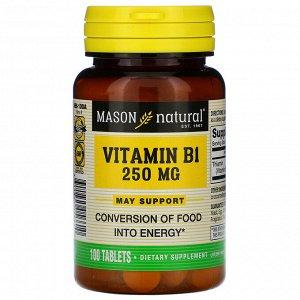 Mason Natural, Витамин B-1, 250 мг, 100 таблеток
