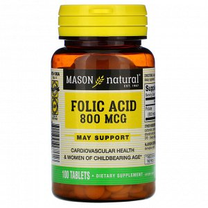Mason Natural, Фолиевая кислота, 800 мкг, 100 таблеток